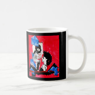 Punk rock star collage with pink, black  and blue coffee mug