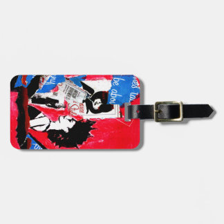 Punk rock star collage with pink, black  and blue luggage tag