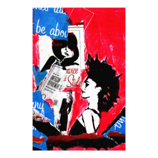 Punk rock star collage with pink, black  and blue stationery