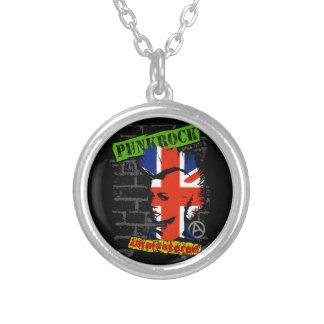 Punk rock - union jack Mohawk Round Pendant Necklace