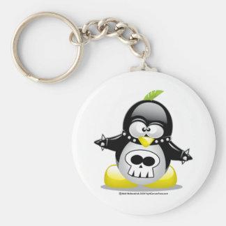 Punk Rocker Penguin Basic Round Button Keychain