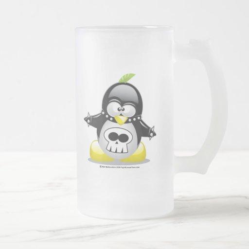 Punk Rocker Penguin Frosted Glass Beer Mug