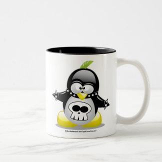 Punk Rocker Penguin Two-Tone Coffee Mug