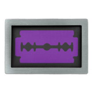 Punk Rocker Razor Blade (Black & Purple) Rectangular Belt Buckle
