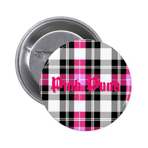 Punk rosado - botón rosado de la tela escocesa pin
