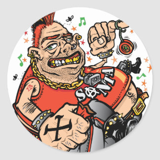 Punk Santa Classic Round Sticker