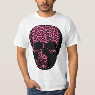 Punk Shocking pink Leopard  Print Skull T-Shirt