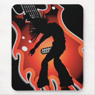 Punk Singer Dancer Silhouette On Flame Guitar Mousepads
