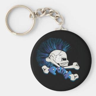 Punk Skull Basic Round Button Keychain
