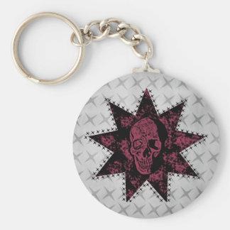 Punk Skull Keychain (Dark Pink)