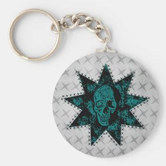 Punk Skull Keychain (Teal)