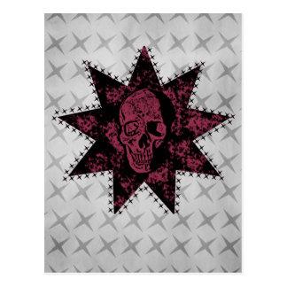 Punk Skull Postcard (Dark Pink)