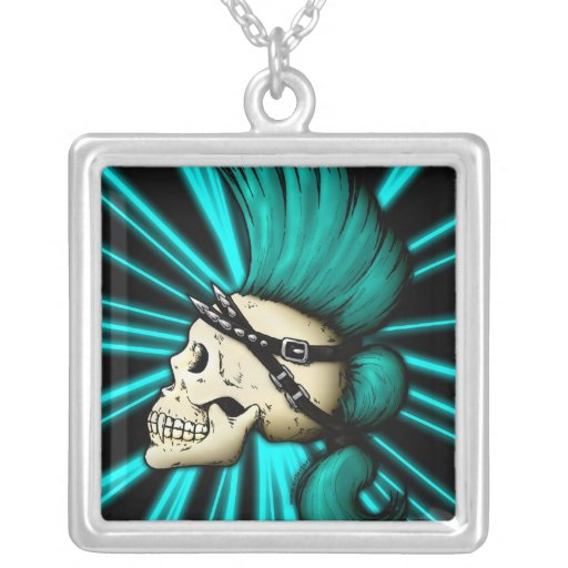 Punk Skull Square Pendant Necklace