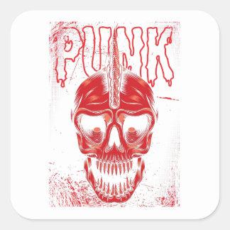 Punk Skull Square Sticker
