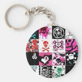 Punk Skulls Basic Round Button Keychain