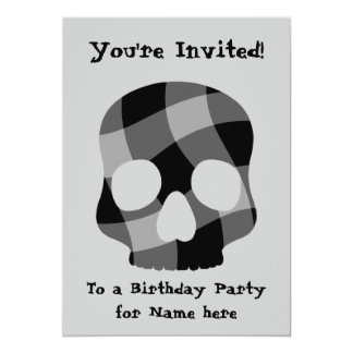 "Punk twisted gingham skull all occasion 5""x7"" card"