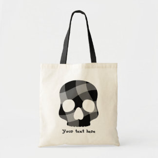 Punk twisted gingham skull tote bag