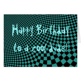 Punk warped retro checkerboard Happy Birthday dude Greeting Cards