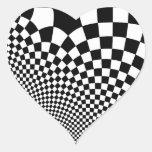 Punk warped retro checkerboard in black and white stickers