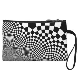 Punk warped retro checkerboard in black and white wristlet wallet