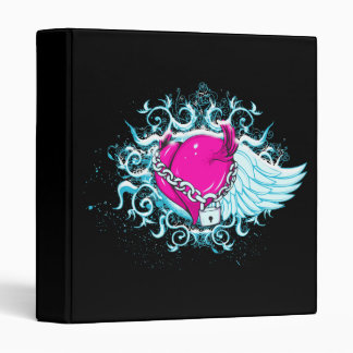 punk winged locked heart 3 ring binder