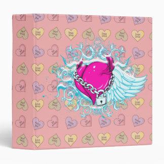 punk winged locked heart binder