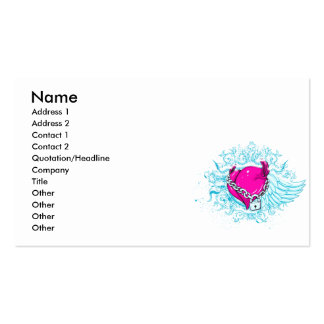punk winged locked heart Double-Sided standard business cards (Pack of 100)