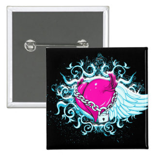punk winged locked heart button