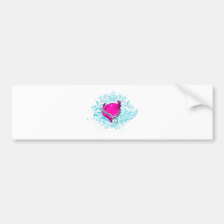punk winged locked heart car bumper sticker