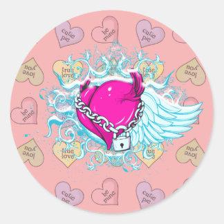 punk winged locked heart classic round sticker