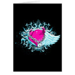 punk winged locked heart greeting card