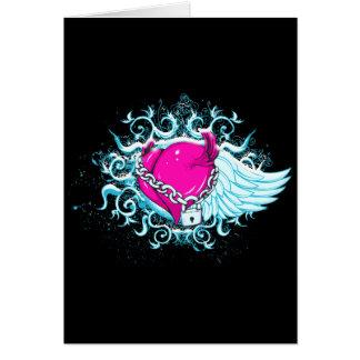 punk winged locked heart greeting card