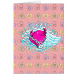 punk winged locked heart greeting cards