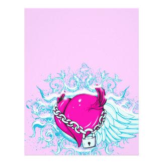 punk winged locked heart letterhead