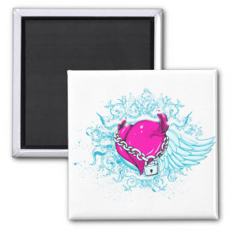 punk winged locked heart magnets