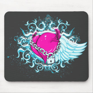 punk winged locked heart mouse pad