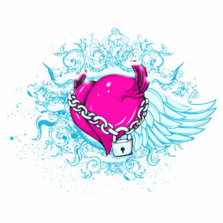 punk winged locked heart photo cut out