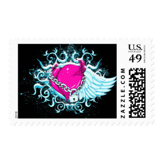 punk winged locked heart postage