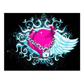 punk winged locked heart postcard