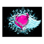 punk winged locked heart postcards