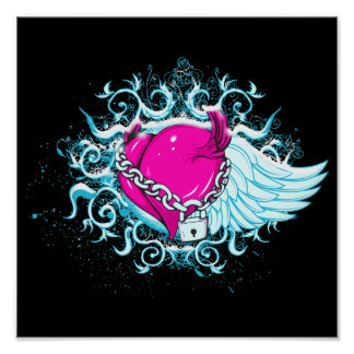 punk winged locked heart print
