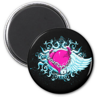 punk winged locked heart refrigerator magnet