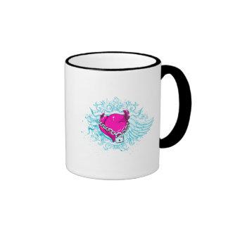 punk winged locked heart ringer coffee mug