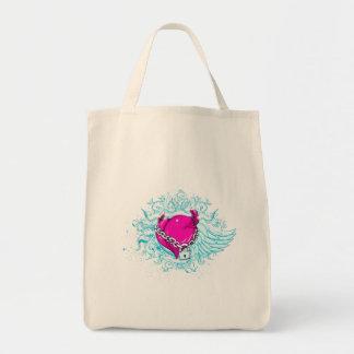 punk winged locked heart tote bag