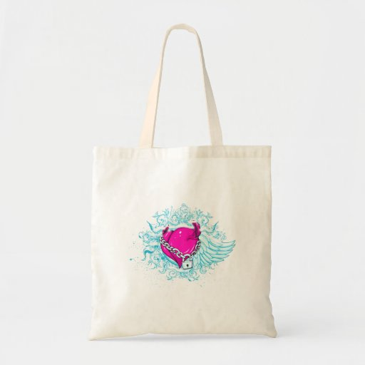 punk winged locked heart tote bags