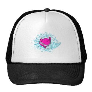 punk winged locked heart trucker hat