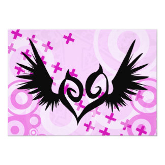 Punked Winged Heart Party Invitations