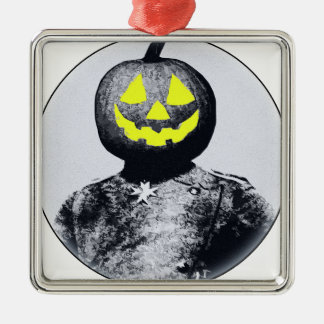 Punkin Head Soldier Square Metal Christmas Ornament