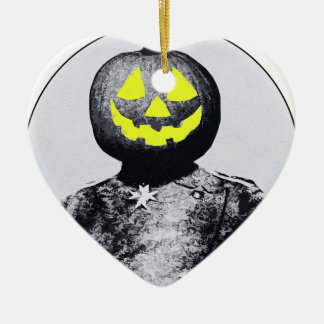 Punkin Head Soldier Double-Sided Heart Ceramic Christmas Ornament