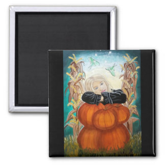 Punkin' Pile - Halloween, Pumpkins, Witch in Moon 2 Inch Square Magnet